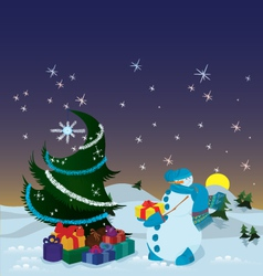 Snowman with presents near the Christmas tree vector image
