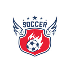 soccer ball badge for football sport club design vector image