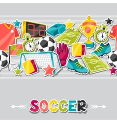 Sports seamless pattern with soccer sticker vector