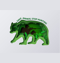 Stop hunting animal with shooter vector