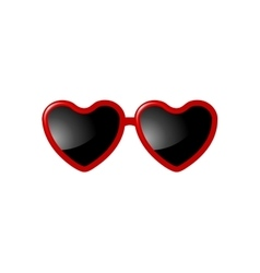 Sunglasses with Valentine heart shapes vector image