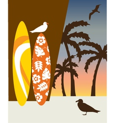surf boards and palm trees vector image