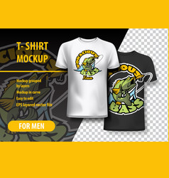 T-shirt mockup with voracious bass phrase in two vector