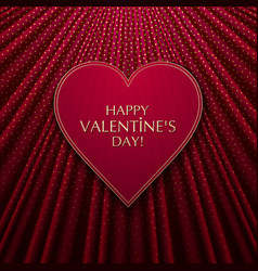 the red heart on fabric texture background vector image