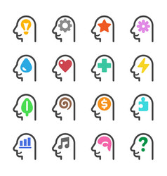 thinking head icon set vector image