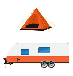 Trailer and camping tent vector image