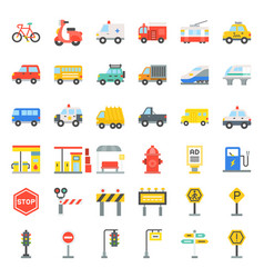 transportation set with sign on road side vector image