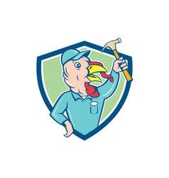 Turkey Builder Hammer Shield Cartoon vector
