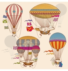 Vintage air balloon set vector