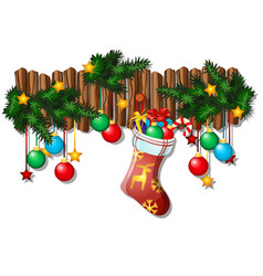 wall christmas decor with dangling baubles fir vector image