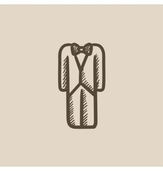 Wedding tuxedo sketch icon vector image