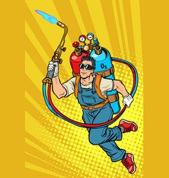 welder professional worker superhero with gas vector image