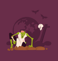 zombie man gets out grave vector image