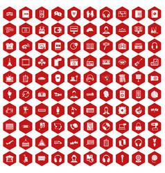 100 headphones icons hexagon red vector image vector image