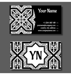 Business card template black and white vitage vector image