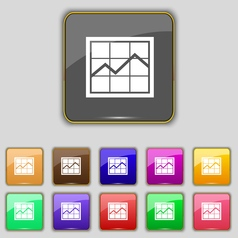 Chart icon sign Set with eleven colored buttons vector image vector image