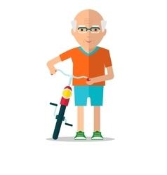 elderly man walk with bicycle vector image vector image