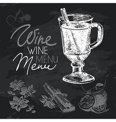 Mulled wine hand drawn chalkboard design set vector image