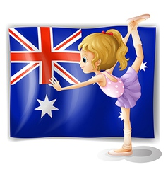 A young girl dancing in front of the Australian vector image vector image