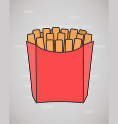 flat style french fries in paper box isolated on vector image vector image