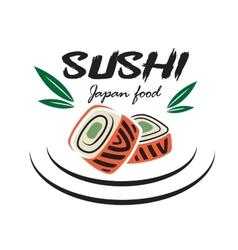 Japanese sushi seafood emblem vector image vector image