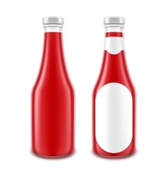 Set of Glass Red Ketchup Bottle without with Label vector image vector image