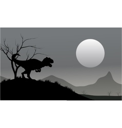 Silhouette of allosaurus with moon vector image