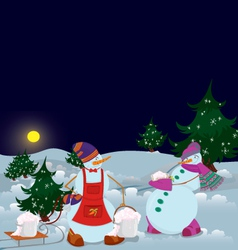 Snowmen are getting diner banner vector image vector image