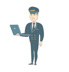 young caucasian pilot using a laptop vector image