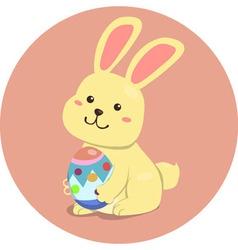 Easter Rabbit Cute Cartoon Holding Egg vector image