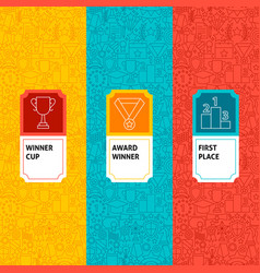 line winner award package labels vector image vector image