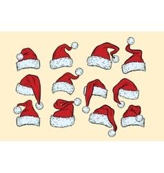 set hats Santa Claus Christmas collection vector image vector image