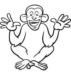 chimpanzee ape cartoon coloring page vector image vector image