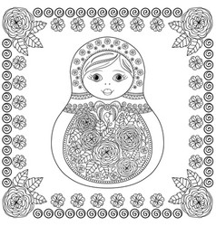 coloring book - russian matrioshka doll vector image
