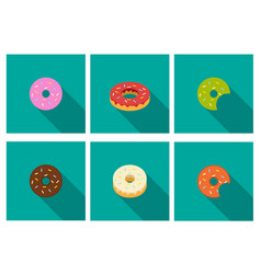 donut icons in flat style vector image