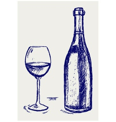 Glass of wine and bottle vector image vector image