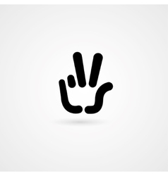 hand icon victory vector image vector image