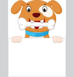 happy dog cartoon with bone vector image vector image