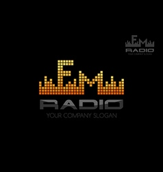 Radio logo music equalizer emblem vector