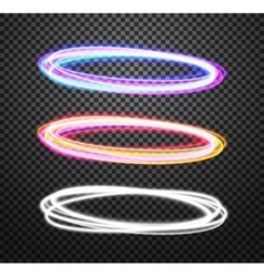 Round neon light trail special effects set vector image