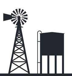 rural windpump and water tank vector image