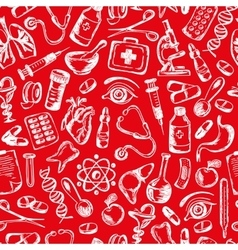 seamless pattern Medical icons and elements of vector image