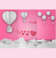 valentines day with balloon and heart shape on vector image