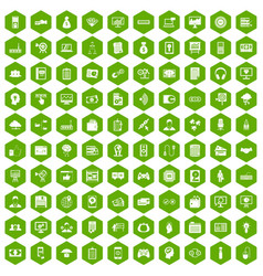 100 it business icons hexagon green vector