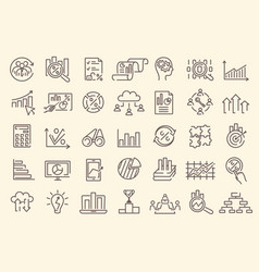 a set outline business analytics icons vector image