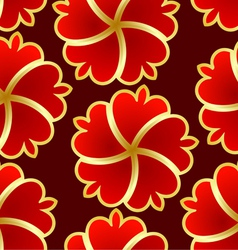 Abstract seamless texture with red gold flower vector image
