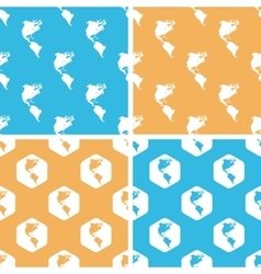American continents pattern set colored vector image