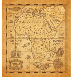 Antique map africa on old parchment vector