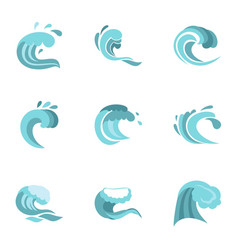 Big blue tide icons set flat style vector