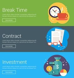 Break Time Contract Investment Flat Design vector